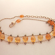 Lovely Citrine Pearl Silver Pearl Choker-Length Necklace