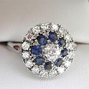 SALE Final Markdown! Wonderful 18K WG 1.00 ct. Diamond Sapphire Vintage Cluster Ring