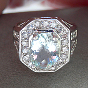 SALE Bold 14K W/Gold 2.00 ct. Aquamarine Diamond Ring