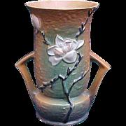 Roseville 10 Inch Magnolia Handled Vase
