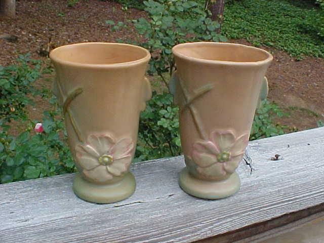 Pair Of Weller Wild Rose Deco Vases