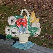Lovely Hubley Basket Of Flowers Doorstop In Original Paint