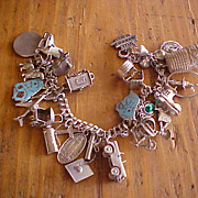 26 Charm Vintage Sterling Charm Bracelet Unusual Mechanical Charms
