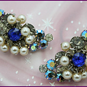 Juliana Faux-Pearl and Aurora Borealis Clip Earrings