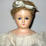 """REDUCED 22"""" Wax Over Ingenue Doll Cobalt Eyes Cerise Boots White Lawn Costume"""