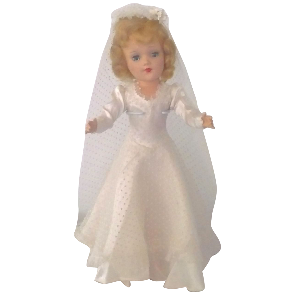 1950's Blond Hard Plastic Mary Hoyer Bride Tagged Gown  w Box