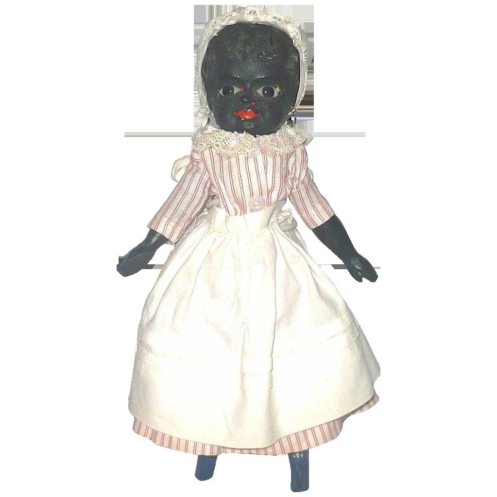 "19th C 10""  Black Papier-mache Wood Body Glass Eyes Blue Boots"