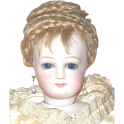 """Early Pale 15"""" French Fashion Cobalt Eyes Shapely Kid Body Original Wig"""