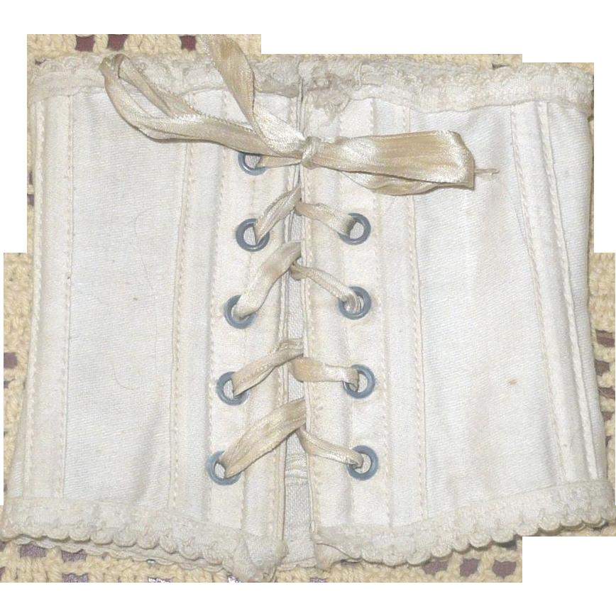 Antique Ivory Linen Doll Corset 5 Sets Grommets  Boned Ribbon Laces