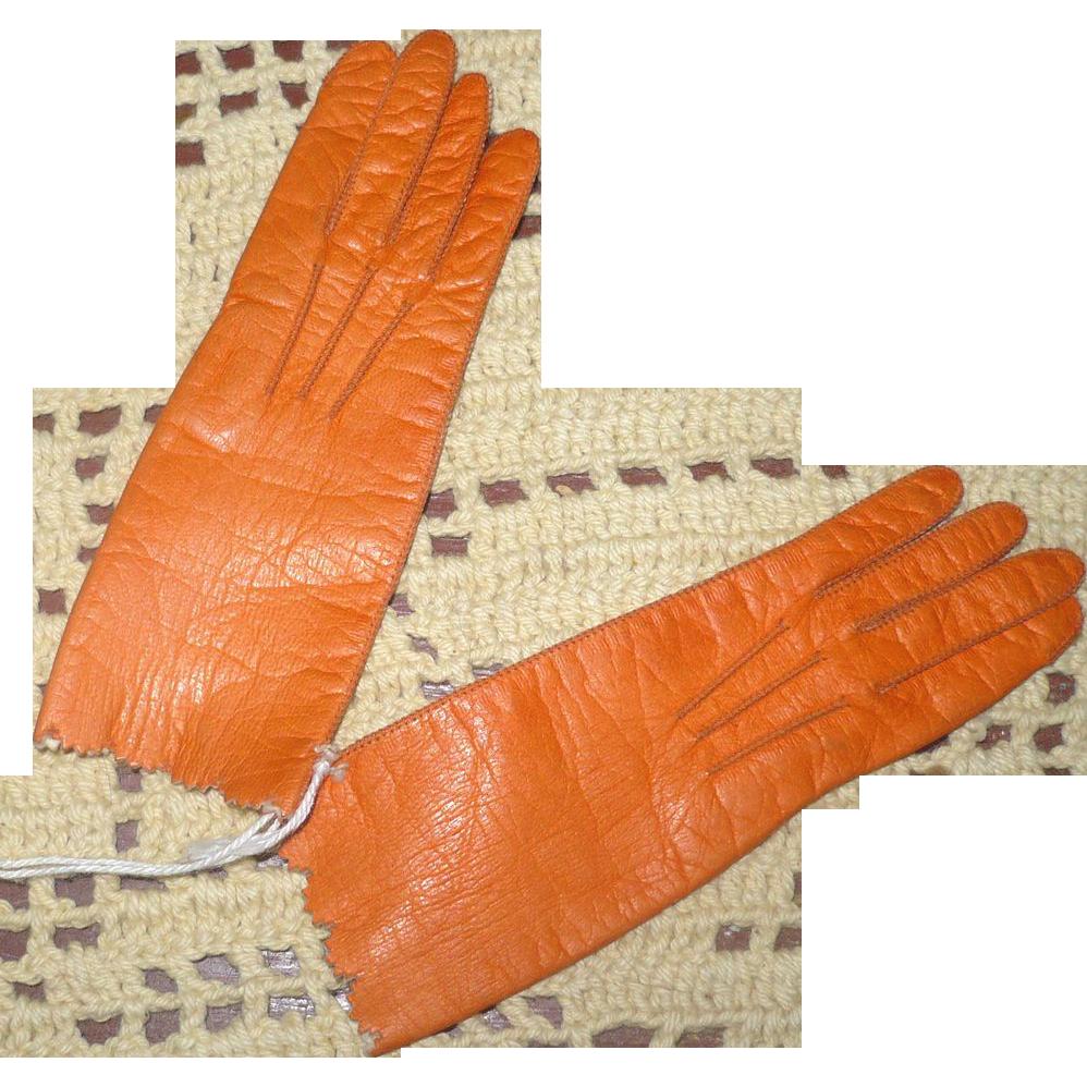 19th C  Persimmon Glazed Kid Centemeri French Fashion Gloves