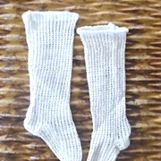 """19th Century 5"""" Long Ribbed Fitted White Knit French Fashion Stockings"""