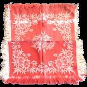 """4  Turkey Red  & Ivory 12""""  Linen Napkins Fringe Floral Pattern"""