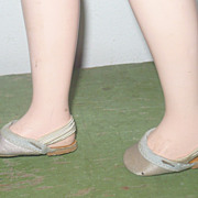 Pale Blue Satin Elastic Back Slippers for Mary Hoyer