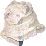 "Old Ivory Net & Ribbon Ruffled Tiers Cap for 12-14"" Head"