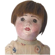 "18""Gertrude  Rollinson Oil Painted Stockinette Doll Open Mouth"