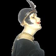 "15.5"" Art Deco Wax Flapper Character Face Fine Molded Limbs"