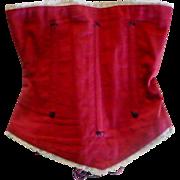 "Turkey Red Linen Boned  Contoured Corset 10.5"" Waist"