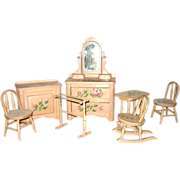 Victorian 8 Piece Painted Cottage Doll Bedroom Furniture Set