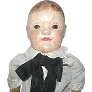 21 Inch Oil Painted Cloth J. B. Sheppard 1900's Philadelphia Baby Brown Hair and Eyes Play Wear Old Clothing