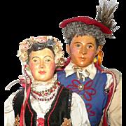 1939 WPA Pair of Composition Polish Portrait Dolls in Krakow Traditional Folk Costume