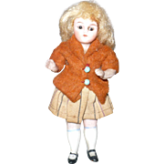 19th Century 3.75 Inch All Bisque Doll House Girl Wire Jointed Shoulders and Hips Glass Eyes O