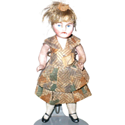 3.5 Inch All Bisque Doll House Girl Wire Jointed Hips and Shoulders Painted Eyes Original Wig