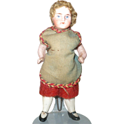 3.5 Inch  All Bisque German Doll House Boy Original Curly Wig and Costume