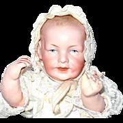 Scarce 9 Inch Franz Schmidt Character Baby Mold 1267 Fine Bisque Lavish Layered Christening Go