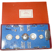 Tiny German Boxed Set of Pewter Dinnerware 4 Place Setting and Serving Pieces