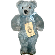 14.5 Inch Blue Mohair Merrythought Jointed  Bear Chest Tag Foot Label Growler