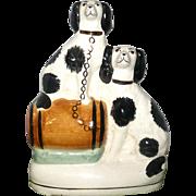 Victorian Flat back Staffordshire Chimney Ornament 2 Black  and White Spaniel Dogs Barrel