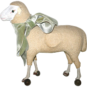 Antique German Flannel Covered Sheep on Wheels Painted Wood Legs Hoofs Green Glass Eyes Workin