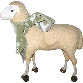 Antique German Flannel Covered Sheep on Wheels Painted Wood Legs Hoofs Green Glass Eyes Working Squeak Mechanism