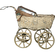 """6"""" Antique German Painted Pressed Tin Doll Carriage Project"""