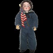 18 Inch Flemington NJ Fulper Bisque Head Doll Jointed Compo Body Set SIde Glancing Eyes Sailor