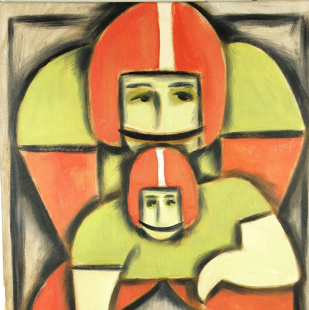 American Art - NFL Football Quarterback: Contemporary Pop Cubist Oil Painting