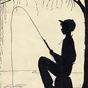 American Art - Boy Fishing: Vintage Silhouette Art