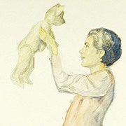 Playing with Teddy: Original Illustration Art circa 1935