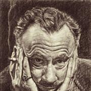American Art - Mario Castro: John Steinbeck. Vintage Portrait Drawing