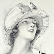 American Art - Charles G Sheldon: Fashion Model with Walking Stick - 1921 Drawing