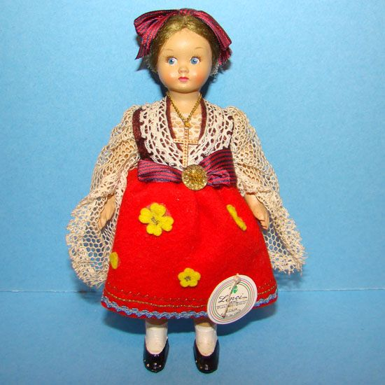 Lenci Cloth Ethnic Costume Travel Doll Sicilia Italy 1960-70 Hard Plastic with Tag 6in