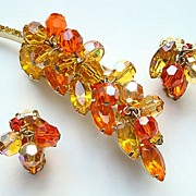 Vintage Rhinestone Leaf Brooch Earrings Amber Tangerine