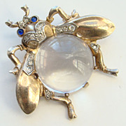 1944 Crown Trifari Fly Pin Lucite Jelly Belly Vermeil Sterling Silver 137200 Signed