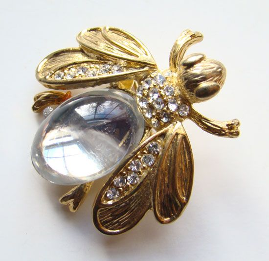Vintage 1950-60 Pave Rhinestone Clear Cabochon Figural Insect Bug Pin Goldtone