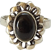 Vintage Sterling Silver Black Onyx Ring 925 Size 6.5