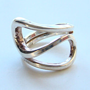 Norway Plus Design Ring Modernist Sterling Silver Size 7 with ND Bag #K