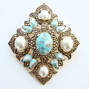 1968 Sarah Coventry Remembrance Pendant Brooch Pin Signed