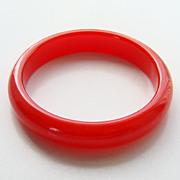 Vintage Luscious Cherry Red Lucite Plastic Bangle Bracelet