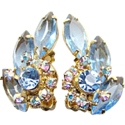 Juliana Light Sapphire Blue Rhinestone Clip Earrings Aurora Borealis DeLizza Elster