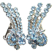 Juliana Light Sapphire Blue Rhinestone Climber Clip Earrings Wire Over Tier DeLizza Elster